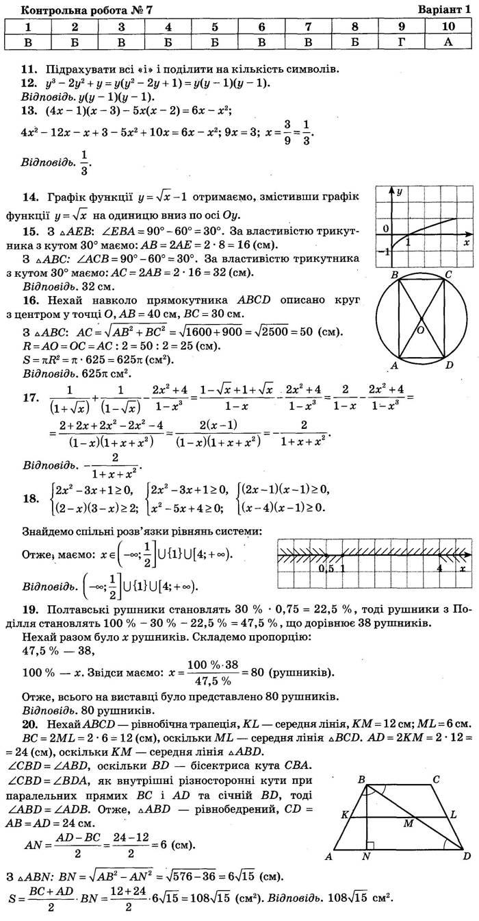 Відповіді до контрольної роботи 7 варіант 1 посібника ДПА-2018 9 клас Математика Бевз Збірник завдань