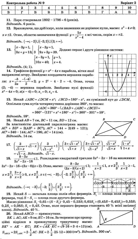 Відповіді до контрольної роботи 9 варіант 2 посібника ДПА-2018 9 клас Математика Бевз Збірник завдань
