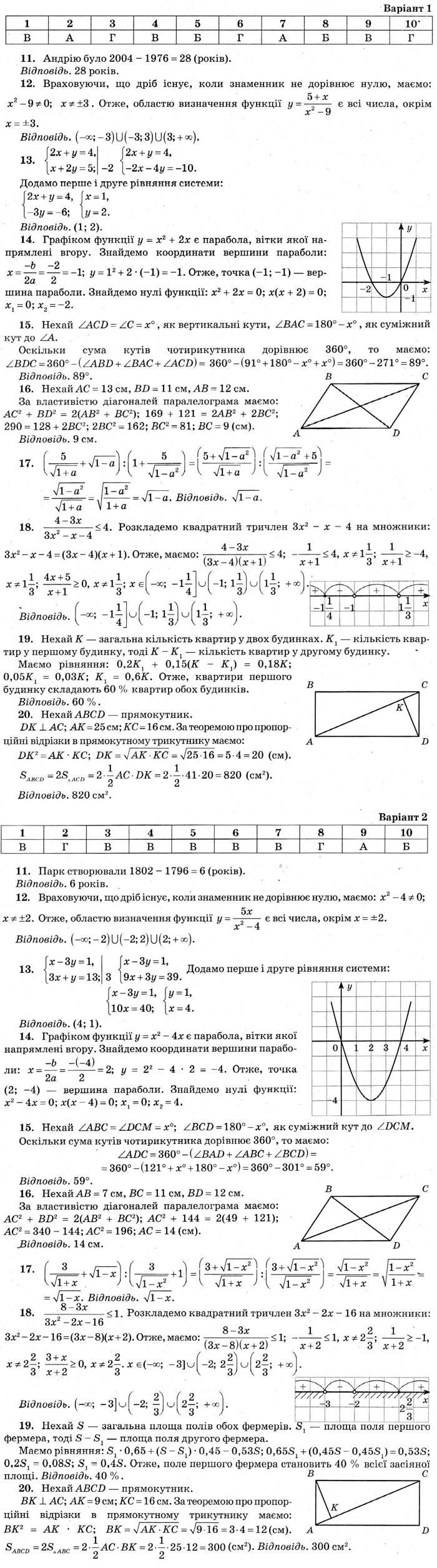 Розв'язання завдань до посібника ДПА-2019 9 клас Математика Бевз (збірник завдань) 2018 рік