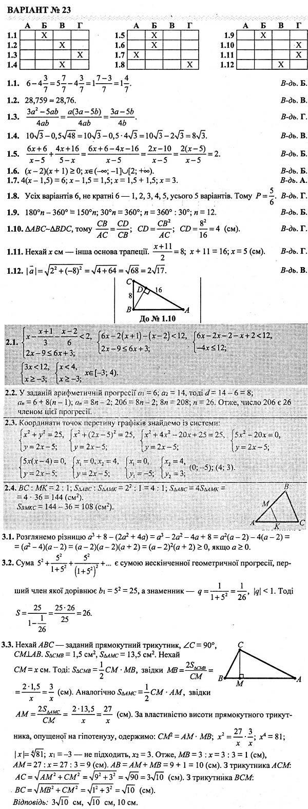 Відповіді до посібника ДПА-2019. 9 клас БЕРЕЗНЯК (підсумкові контрольні роботи)