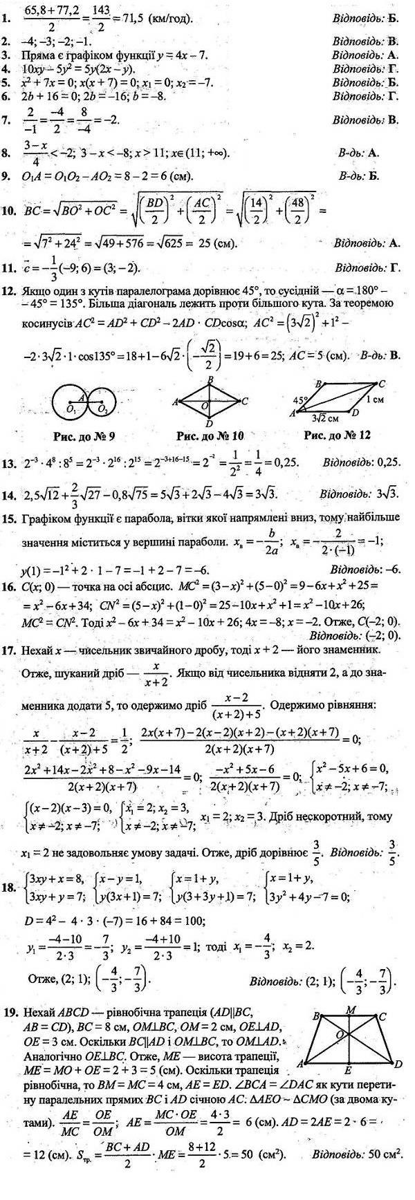 Відповіді до посібника ДПА-2020 9 клас ІСТЕР (збірник завдань для атестаційних письмових робіт)