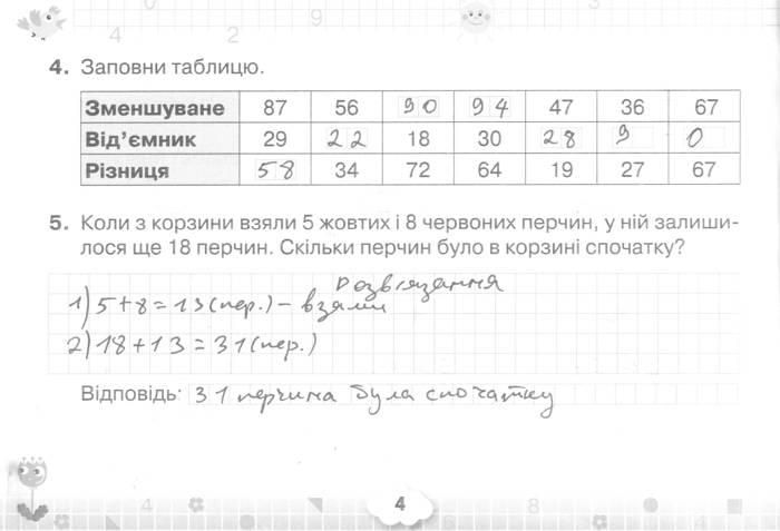 Розв'язання завдань сторінки 4 до посібника 3 клас Математика Листопад 2020 рік (математичний тренажер)