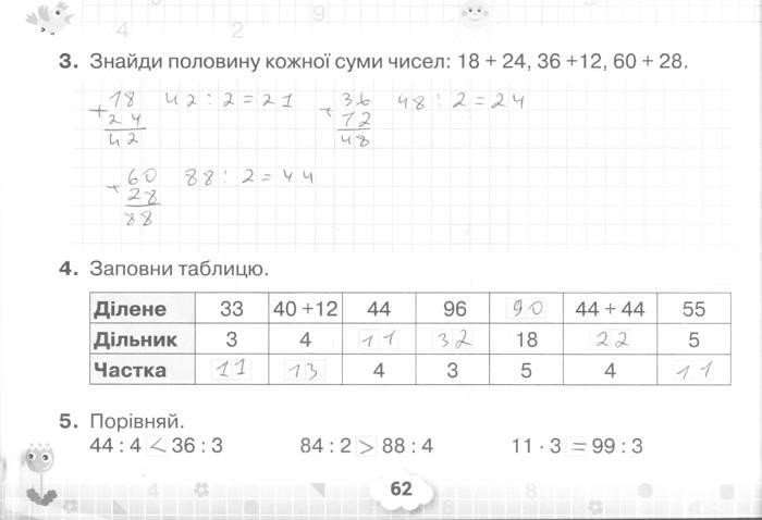 Розв'язання завдань сторінки 62 до посібника 3 клас Математика Листопад 2020 рік (математичний тренажер)