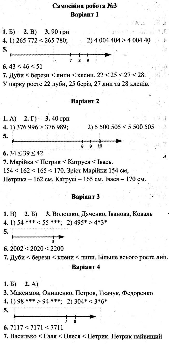 Розв'язання завдань до самостійної роботи 3 посібника 5 клас Математика Мерзляк (збірник самостійних робіт і тестів) 2020 рік
