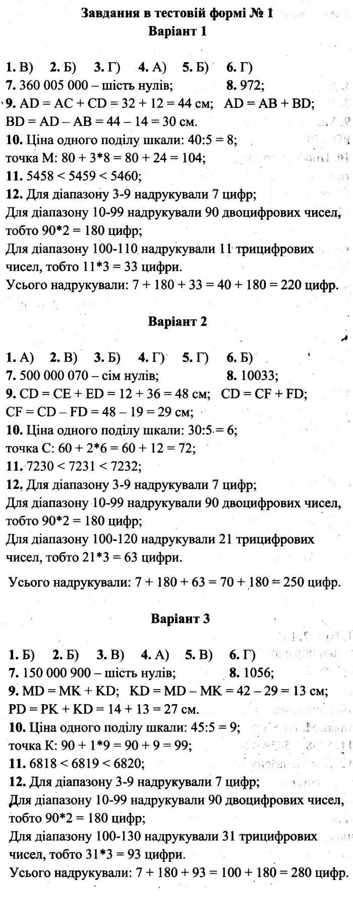 Розв'язання завдань до тестової роботи 1 посібника 5 клас Математика Мерзляк (збірник самостійних робіт і тестів) 2020 рік