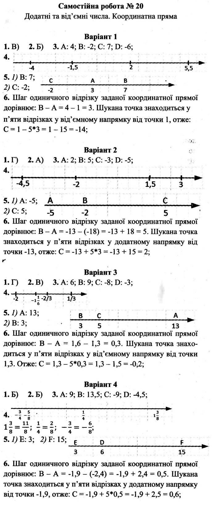 Розв'язання завдань до самостійної роботи 20 посібника 6 клас Математика Мерзляк (збірник самостійних робіт і тестів) 2020 рік