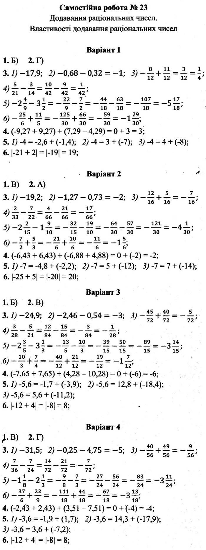 Розв'язання завдань до самостійної роботи 23 посібника 6 клас Математика Мерзляк (збірник самостійних робіт і тестів) 2020 рік