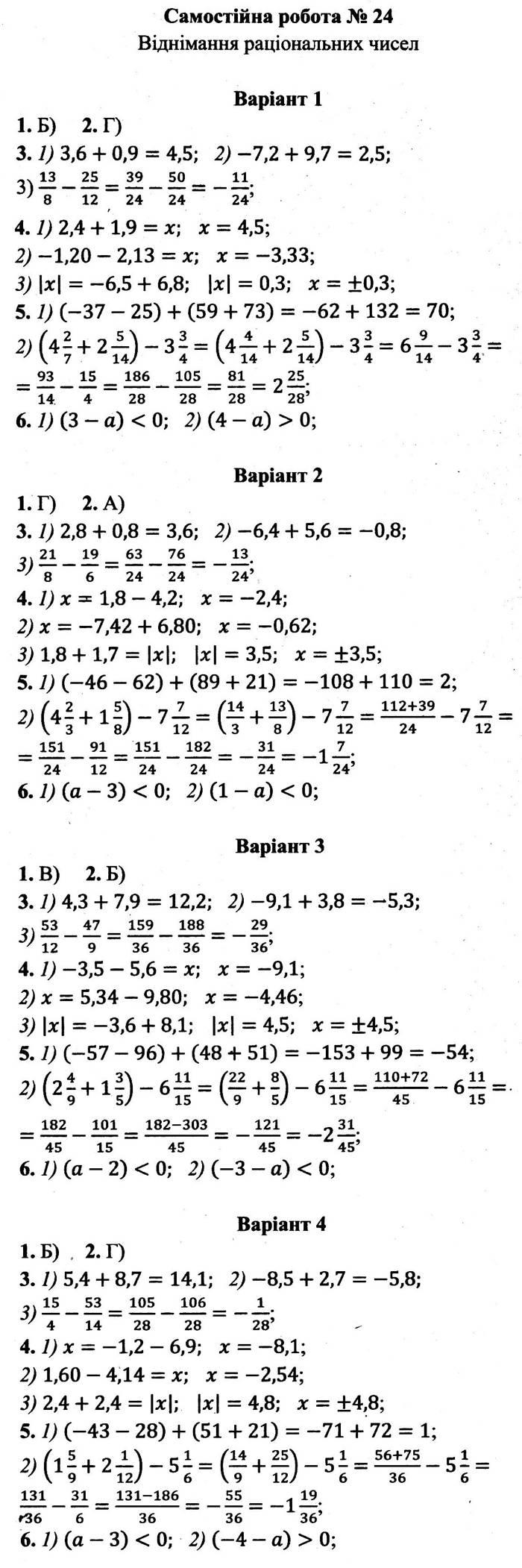 Розв'язання завдань до самостійної роботи 24 посібника 6 клас Математика Мерзляк (збірник самостійних робіт і тестів) 2020 рік