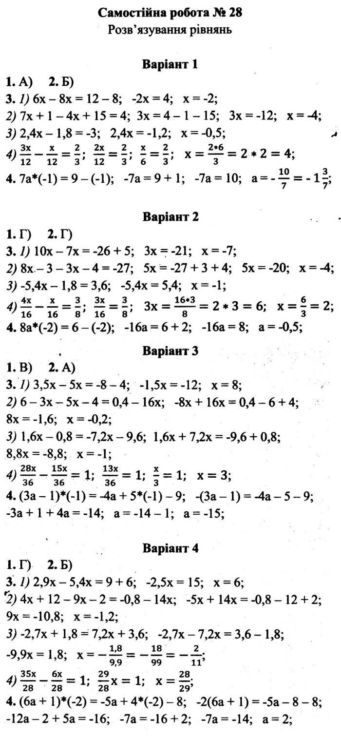 Розв'язання завдань до самостійної роботи 28 посібника 6 клас Математика Мерзляк (збірник самостійних робіт і тестів) 2020 рік